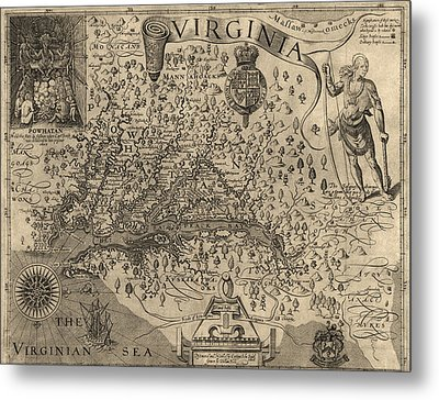 Antique Map Of Virginia And Maryland By John Smith - 1624 Metal Print by Blue Monocle