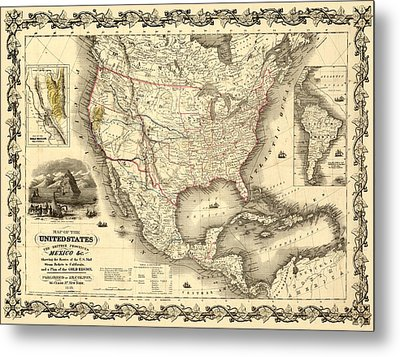 Antique North America Map Metal Print by Gary Grayson