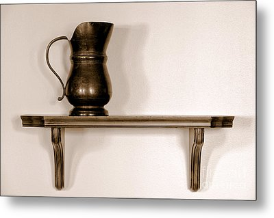 Antique Pewter Pitcher On Old Wood Shelf Metal Print by Olivier Le Queinec