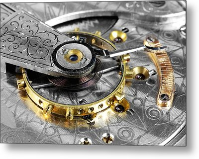 Antique Pocketwatch Balance Wheel Metal Print by Jim Hughes