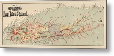 Antique Railroad Map Of Long Island By The American Bank Note Company - Circa 1895 Metal Print by Blue Monocle