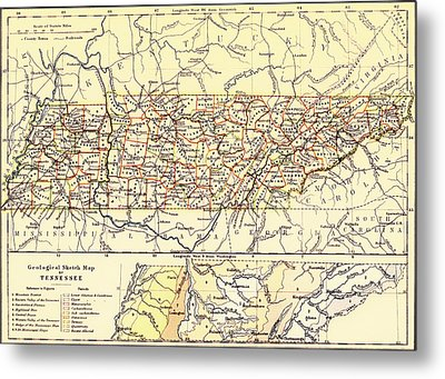 Antique State Of Tennessee Map 1888 Metal Print by Mountain Dreams