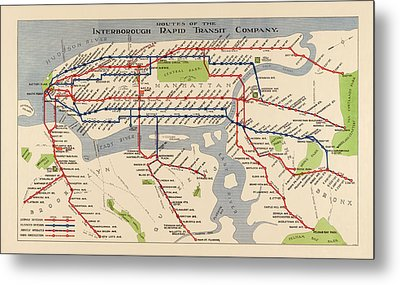 Antique Subway Map Of New York City - 1924 Metal Print by Blue Monocle