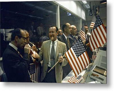 Apollo 11 Officials Celebrating, 1969 Metal Print by Science Photo Library