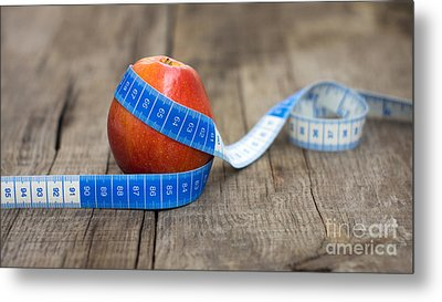 Apple And Measuring Tape Metal Print by Aged Pixel