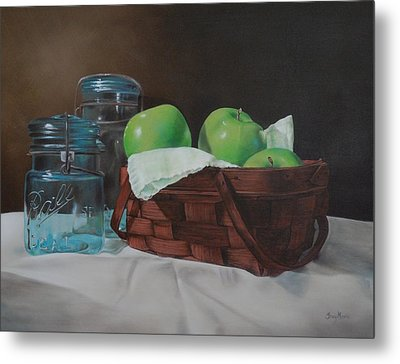 Apples And Mason Jars Metal Print by Tracy Meola