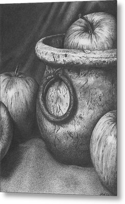 Apples In Stoneware Metal Print by Michelle Harrington