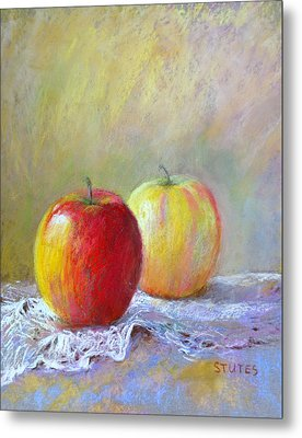Apples On A Table Metal Print by Nancy Stutes
