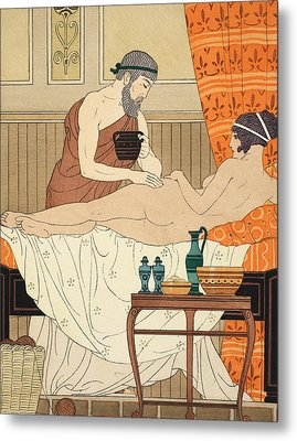 Application Of White Egyptian Perfume To The Hip Metal Print by Joseph Kuhn-Regnier