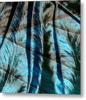 Aqua And Brown Leaf Montage Metal Print by Bonnie Bruno