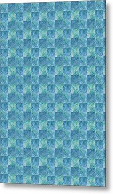 Aqua Checkers Metal Print by Jenny Armitage