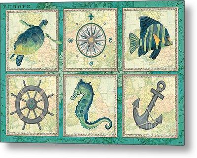 Aqua Maritime Patch Metal Print by Debbie DeWitt
