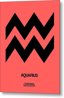 Aquarius Zodiac Sign Black Metal Print by Naxart Studio