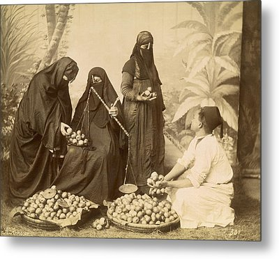 Arab Women Buying Fruit Metal Print by Underwood Archives