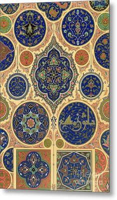 Arabian Decoration Plate Xxvii From Polychrome Ornament Metal Print by Albert Charles August Racinet