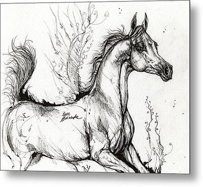 Arabian Horse Drawing 1 Metal Print by Angel  Tarantella