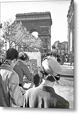 Arc De Triomphe Painter - B W Metal Print by Chuck Staley