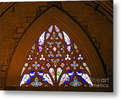 Arched Stained Glass Window Metal Print by Cindy Lee Longhini