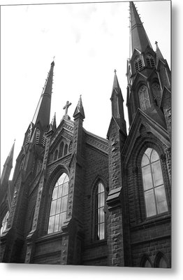 architecture churches . Gothic Spires in Black and White  Metal Print by Ann Powell