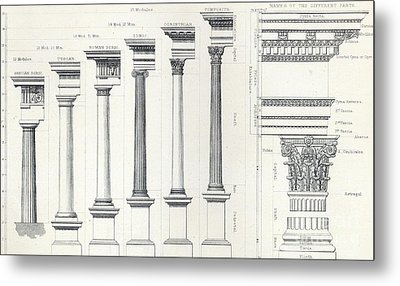 Architecture I Orders Of Architecture Engraved By Charles Lawrie Metal Print by  John Burley Waring
