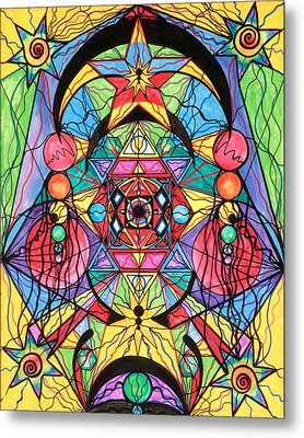 Arcturian Ascension Grid Metal Print by Teal Eye  Print Store