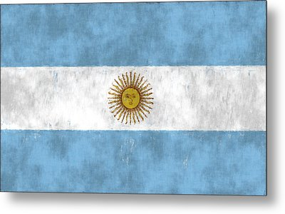 Argentina Flag Metal Print by World Art Prints And Designs