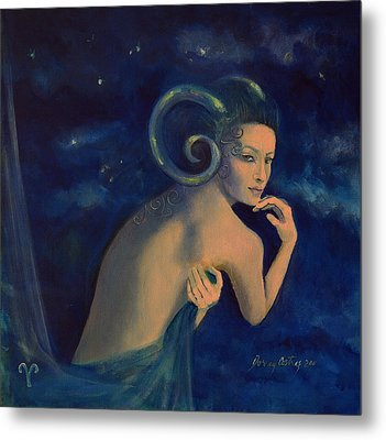 Aries From Zodiac Series Metal Print by Dorina  Costras