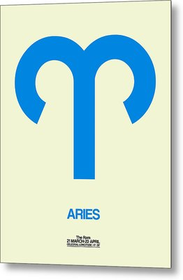 Aries Zodiac Sign Blue Metal Print by Naxart Studio