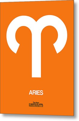 Aries Zodiac Sign White On Orange Metal Print by Naxart Studio
