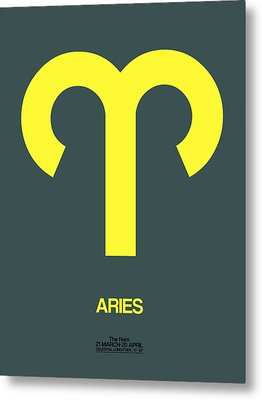 Aries Zodiac Sign Yellow Metal Print by Naxart Studio