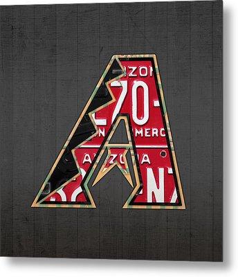 Arizona Diamondbacks Baseball Team Vintage Logo Recycled License Plate Art Metal Print by Design Turnpike