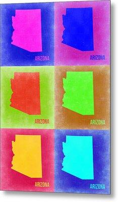 Arizona Pop Art Map 2 Metal Print by Naxart Studio