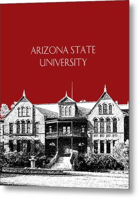 Arizona State University - The Old Main Building - Dark Red Metal Print by DB Artist