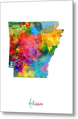 Arkansas Map Metal Print by Michael Tompsett