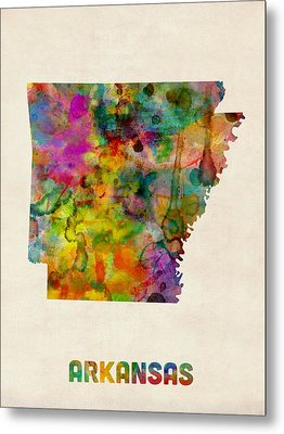 Arkansas Watercolor Map Metal Print by Michael Tompsett