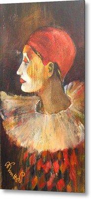 Arlequin In A Red Hat Metal Print by Alicja Coe