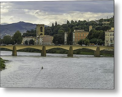Arno River And Architecture In Florence Metal Print by Karen Stephenson