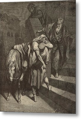 Arrival Of The Samaritan At The Inn Metal Print by Antique Engravings