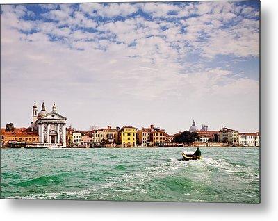 Arriving In Venice By Boat Metal Print by Susan  Schmitz