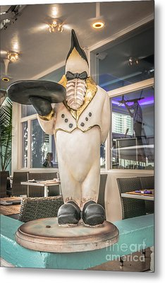 Art Deco Penguin Waiter South Beach Miami - Hdr Style Metal Print by Ian Monk
