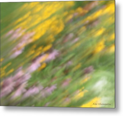 Art Of Floral Movement Abstract - Dancing Healing Flowers - Echinacea And Yellow Coneflowers Metal Print by Alex Khomoutov