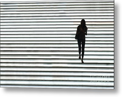 Art Silhouette Of Girl Walking Down Metal Print by Lars Ruecker