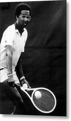 Arthur Ashe Playing Tennis Metal Print by Retro Images Archive