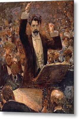 Arthur Nikisch Conducting A Concert At The Gewandhaus In Leipzig Metal Print by Robert Sterl