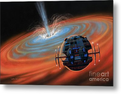 Artificial Planet Orbiting A Black Hole Metal Print by Lynette Cook