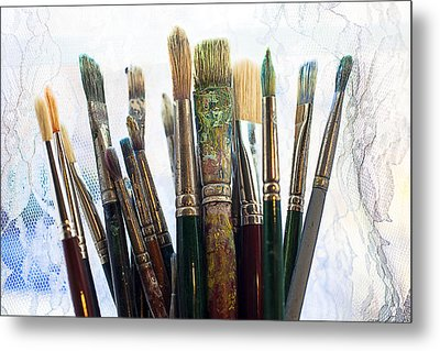 Artist Paintbrushes Metal Print by Garry Gay
