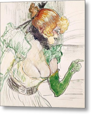 Artist With Green Gloves - Singer Dolly From Star At Le Havre Metal Print by Henri de Toulouse Lautrec