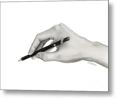 Artist's Hand Metal Print by Sarah Batalka