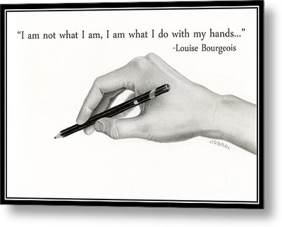 Artist's Hand With Text Metal Print by Sarah Batalka