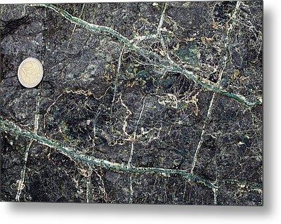 Asbestos Veins In Serpentinite Metal Print by Dirk Wiersma